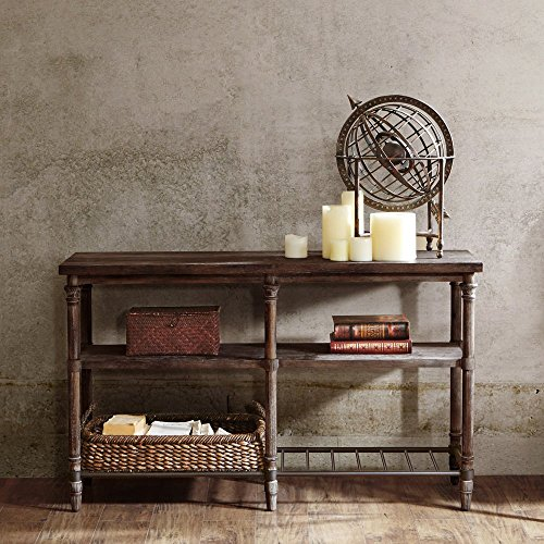 Pottery Barn Console (Industrial Rustic 54 inch Sofa Console Table with Spacious Shelves in Coffee Brown Finish - Includes Modhaus Living Pen)