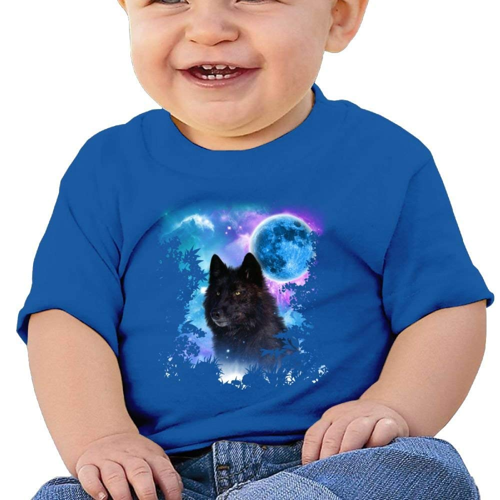 Cute Short-Sleeve Shirt Wolf Moon Birthday Day 6-24 Months Baby Boy Kids