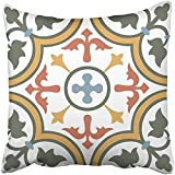 Throw Pillow Cover Polyester 18X18 Inch Colorful Moroccan Vintage Flower Floral Pattern Abstract Royal Yellow Spain Architecture Two Sides Decorative Square Print Pillowcase For Home