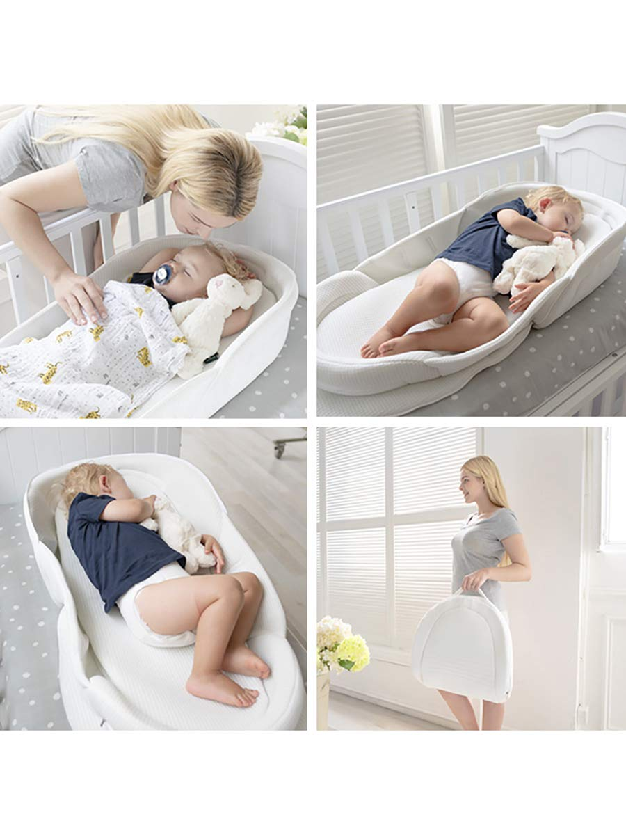Bebamour Baby Bed Foldable Bassinet for Bed Bionic Travel Bed Womb-Like Protector Baby Bed for 0-36 Months White