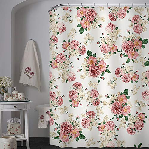 (Uphome Pink Rose Flower with Leaves Customized Bathroom Shower Curtain - Pink Waterproof and Polyester Fabric Bath Curtain Design(72
