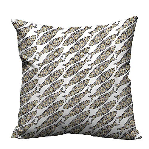 YouXianHome Sofa Waist Cushion Cover Portuguese Azulejo Tiles Sardine Fishes Folk Animal Artisan Historical Decorative for Kids Adults(Double-Sided Printing) 21.5x21.5 -