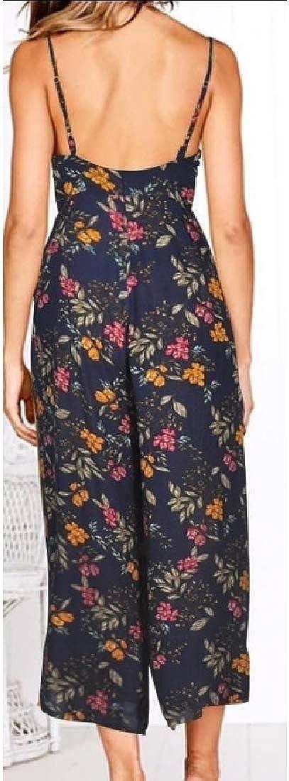 ouxiuli Women Floral Print Spaghetti Strap Backless Loose Long Pant Jumpsuit Romper