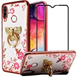 BTShare for Samsung Galaxy A20S Case & Tempered Glass Screen Protector, Bling Crystal Soft Clear Silicone Back Slim Fit Case for Girls Kickstand Cover & Flexible Metal Ring Grip, Butterfly