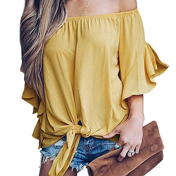 aa5297694533 Camisa Sexy Manga Campana Collar Una Palabra Hombro Sin Tirantes Mujer  Camiseta Chifón Colores Lisos Raya Múltiples Estilos Color Blusa:  Amazon.es: Ropa y ...