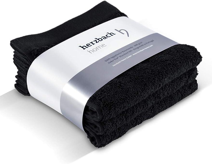 herzbach Home - Juego de toallas de mano (30 x 30 cm, 3 unidades, calidad superior, 100% algodón egipcio, 600 g/m²), algodón, Negro , 33 x 33 cm: Amazon.es: Hogar
