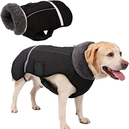 Eidoct Dog Coat Fleece Lining Dog Jacket Waterproof D Ring Vest Cotton Pets Apparel for Small Medium Large Pink 2XL