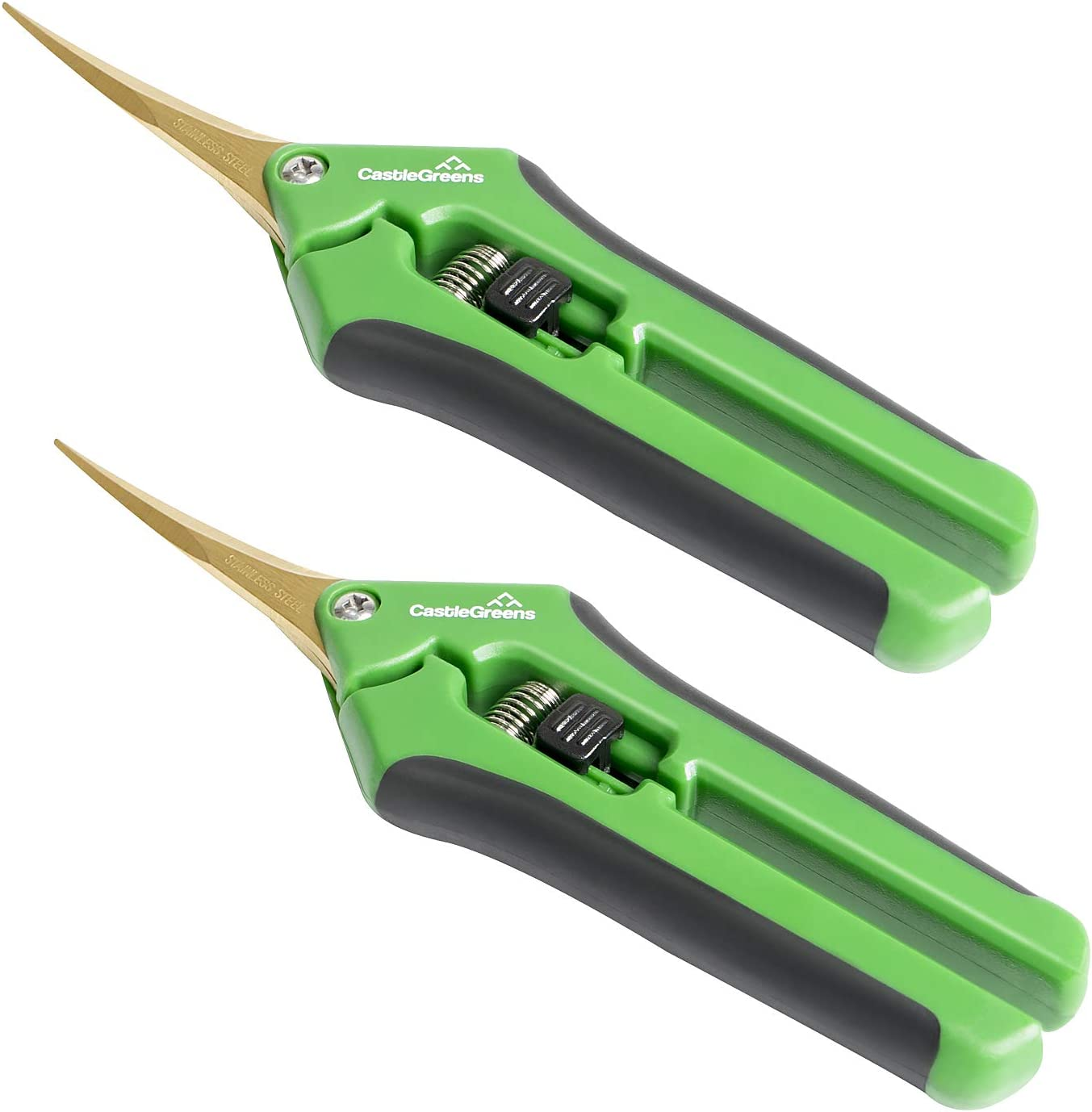 CastleGreens 2-Pack Garden Pruning Shear, 6.5 Inch Curved Blade Heavy-Duty Hand Pruner, Stainless Steel Gardening Bonsai Scissors with Titanium Coated, Green