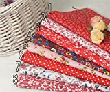 Bundle Cotton Quilting Fabric Sewing Floral Pastoral Style Cotton Fabric for Patchwork and Crafts Cloth Fabric Color Red Size 20x25cm