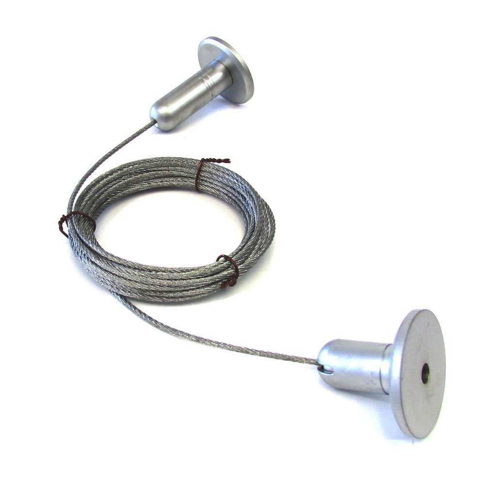 """2.0mm Cable Kit. 4.0M (13 ft 1-1/2 in) LONG CABLE w/ANGLED CEILING TO FLOOR FITTINGS AND 25mm (1"""") Dia. BASE SUPPORTS (SET OF 4)"""
