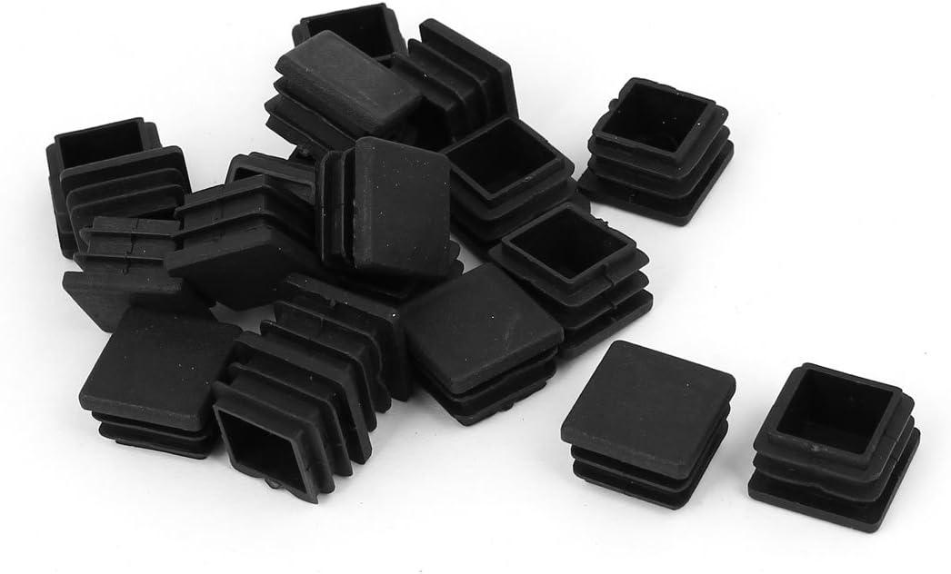 sourcingmap/® 20mm x 20mm Inserci/ón de tubo de tapa final obturaci/ón de pl/ástico con forma cuadrado negro 20pcs