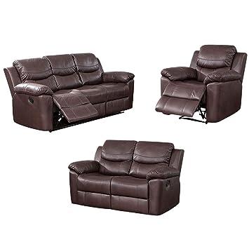 Amazon.com: Sofá reclinable de 3 piezas, sofá de piel ...
