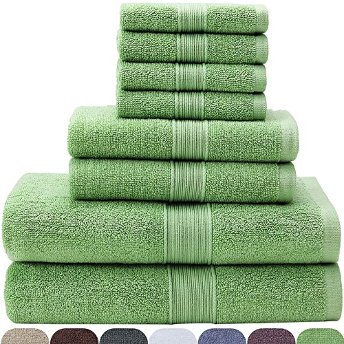 (VEEYOO 100% Cotton 8 Piece Towel Set Mint: 2 Bath Towels, 2 Hand Towels, 4 Washcloths - Hotel & Spa Quality, Extra Soft and Highly Absorbent for)