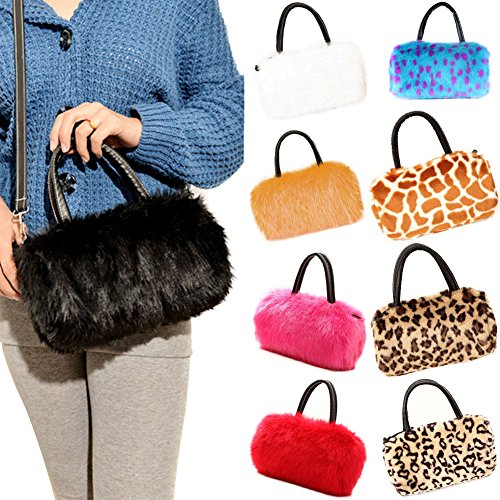 FUNOC Bag Purse Women's Faux Long Ladies Tote HandBag Clutch Hobo shoulder Fur Black Wallet qwBAprqF