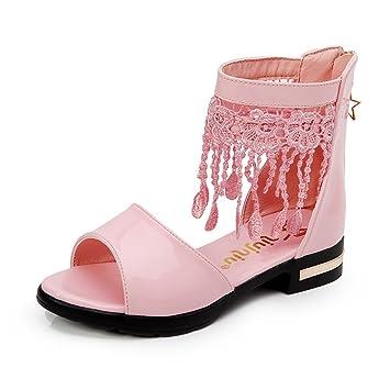 ALUK- Kinderschuhe - Mädchen Single Schuhe Prinzessin Schuhe Korean Fisch Mund Schuhe Nette Performance Schuhe ( Farbe : Schwarz , größe : 37 )