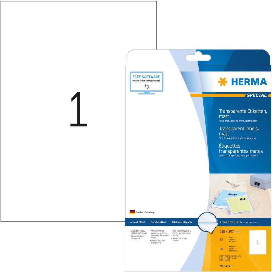 bedruckbar 48,3 x 25,4 mm, 25 Blatt, Polyesterfolie, matt selbstklebend HERMA 4680 Wetterfeste Folien-Etiketten DIN A4 transparent 1.100 Klebeetiketten durchsichtig permanent haftende Klebefolie