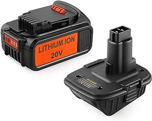 ANTRobut Replace 5.0Ah for Dewalt 20V Battery & DCA1820 for Dewalt Battery Adapter Convert Dewalt 20V Lithium Battery for Dewalt 18V NiCad & NiMh Battery DC9096 DE9096