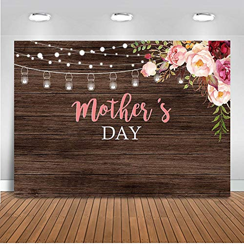 Mocsicka Mother's Day Backdrop 7x5ft Vinyl Mason Jars Rustic Brown Wood Wall Photo Booth Backdrops Happy Mother's Day Floral Photography - Photography Floral Backgrounds