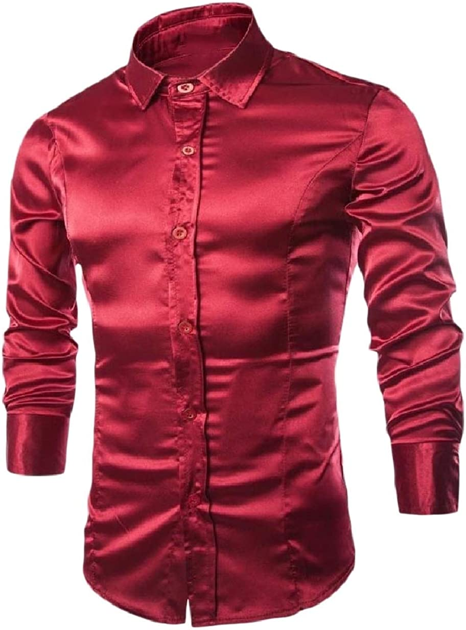 VITryst-Men Solid Dance Prom Club Satin Fitted Botton Front Dress Shirt