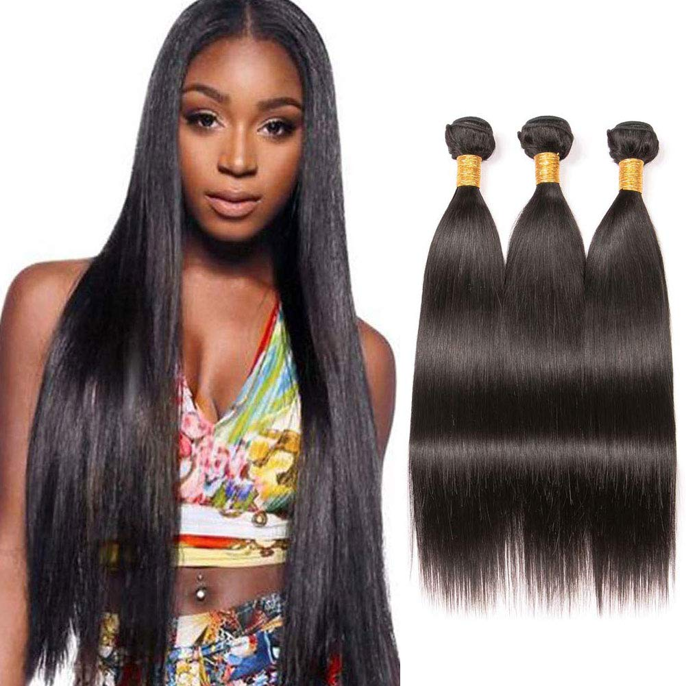 Amazon Com Bk Beckoning Long Straight Hair 3 Bundles 26 28 30 Inch 100 Brazilian Unprocessed Human Hair Weave Extensions Natrual Color For Women Beauty