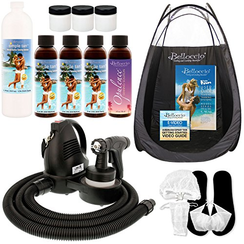 Belloccio Professional Sunless HVLP Turbine Spray Tanning System; Pint Bottle of Simple Tan 12% DHA Dark Solution, 4 Solution Variety Pack, Tent, Cups & Accessories (Spray Tan Machine Accessories)