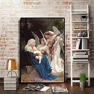 YuanMinglu Retrato de Personaje de música Angel. Famoso Lienzo de Pintura al óleo. Cartel de Arte Pop y Mural de salón. Sin Marco: Amazon.es: Hogar