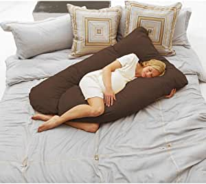 1 Piece Mom Cozy Comfort Pregnancy Pillow Improved Lumbar Support Cotton Blend Construction Inner Curve Support Zipper Closure Non-Organic Cradles Your Entire Body Coffee Brown Pregnancy Body Pillow