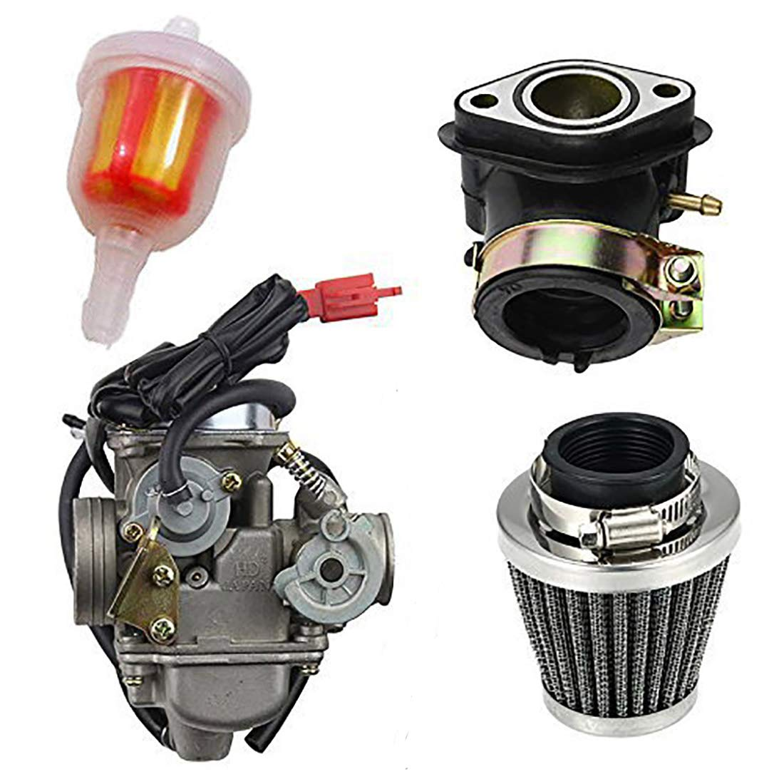 Chanoc PD24J Carburetor with Air Filter Intake Manifold for GY6 125cc150cc ATV Quad Go Kart Scooter Taotao Sunl Kazuma Roketa