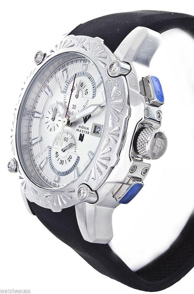 Amazon.com: Aqua Master El Russo Nicky Jam Chrono Silver-Tone Dial Diamond Mens Watch #NJ106: Watches