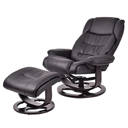 Giantex Executive Recliner Chair Swivel Leisure PU Leather Furniture W/  Ottoman