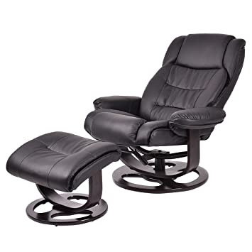 giantex pu leather executive leisure recliner chair swivel furniture w ottoman - Recliner Chair