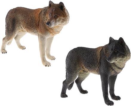 IPOTCH 2 Unids Juguete de Modelo de Animal de Lobo Realista Figura de Acción Playset Ornamento de Mesa: Amazon.es: Juguetes y juegos
