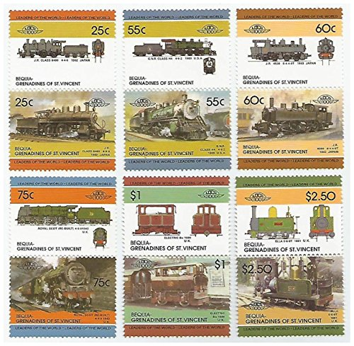 Mnh Trains (Railway locomotives - Set of 6 vertical pairs of train stamps for Collectors / MNH / Bequia Grenadines of St Vincent.)