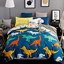 Duvet Cover Bedding Sheet Pillowcases for Aduts Kids Children DL Twin Full Queen Animal Cartoon Ice Age Design 4pcs/set No Comforter Best Gifts (Queen, Dinosaur Family, Blue)