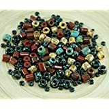 Anissa Exclusive Picasso Mix Czech Glass Large Hole Tube Seed Beads Rustic Multicolor Rough Aged Tribal 20g
