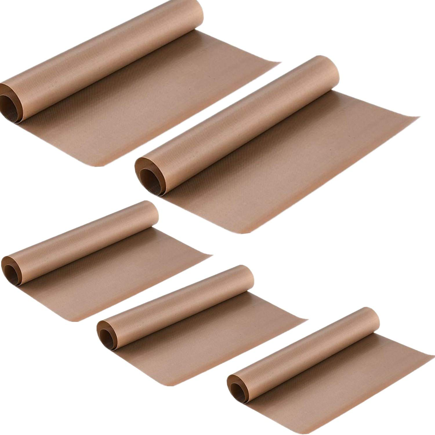 Teflon Sheet for Heat Press Transfer Sheet Non Stick Heat Resistant Craft Mat(5 Pack, 24×16& 16x12, Brown) 24×16&16x12 Weliu
