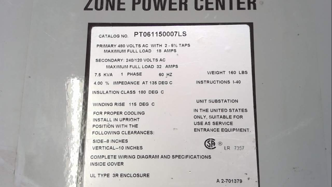 Hubbell Acme Electric PT061150007LS Panel-Tran Zone Power Centers, Single  Phase, Snap in Breakers - 480 Primary Volts - 120/240 Secondary Volts, ...
