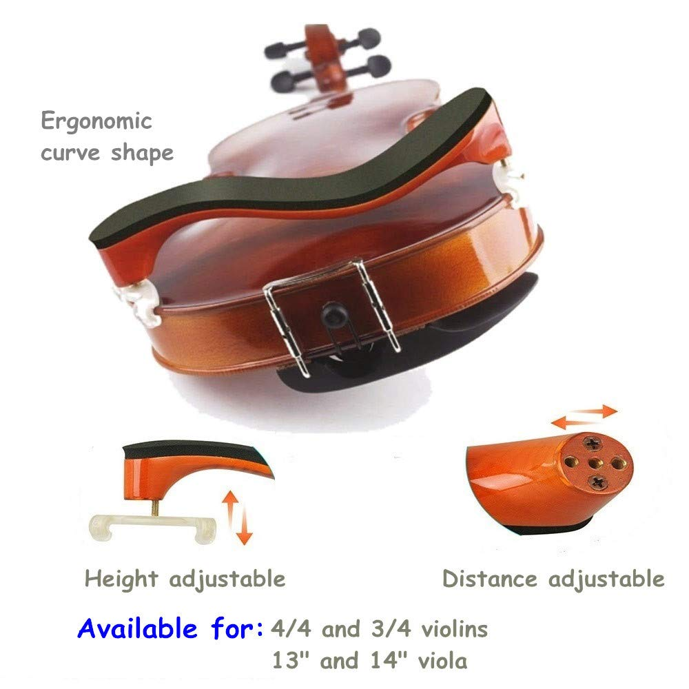 Violin kit Accessories for Beginners and Students with Cleaning Cloth and Made of Maple Wood for 4//4 and 3//4 Violin Violin Mute Black for Full Size Violins Wood Imelod Violin Shoulder Rest
