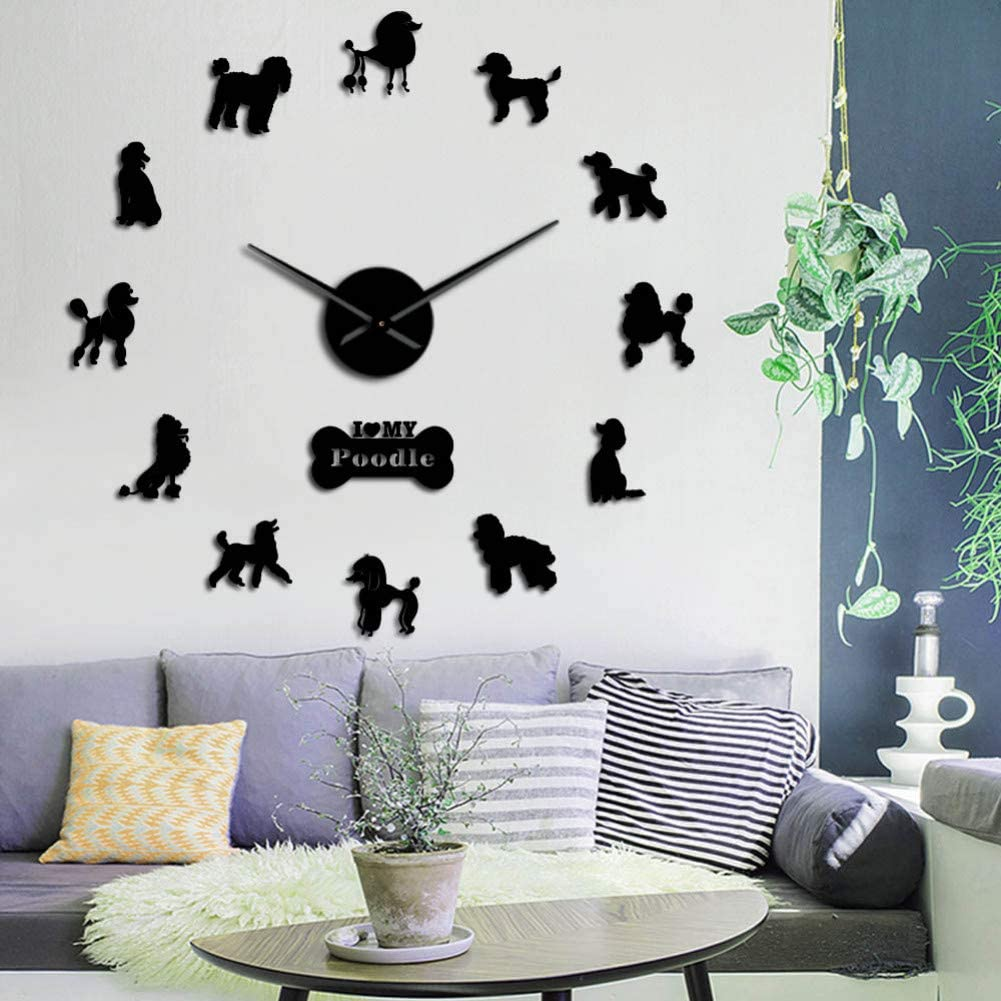 Amazon Com Wfuby Wall Clock Big Hand Wall Clock Modern Diy Giant Wall Clock Dining Room Wall Decor Poodle Mirror Effect Large Wall 37inch Home Kitchen