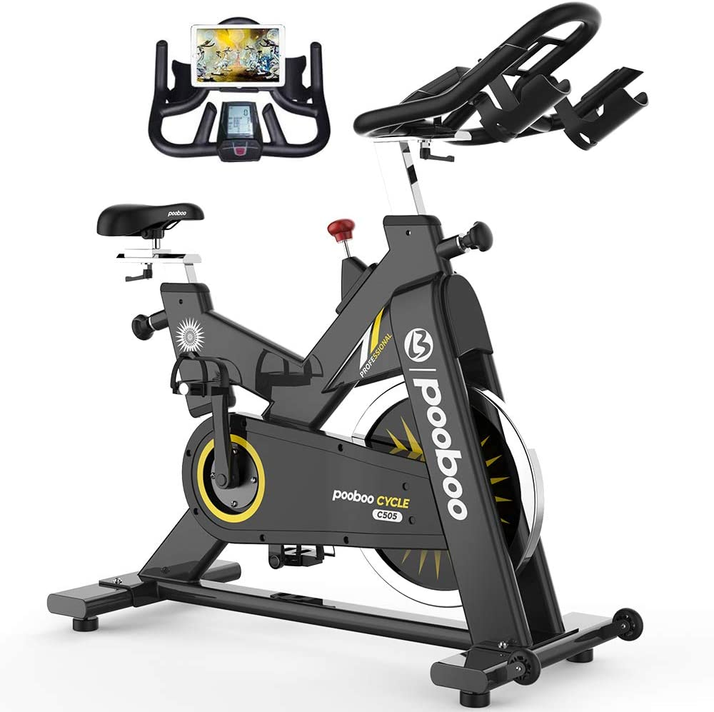 pooboo Commercial Use Exercise Bike Indoor Cycling Bike Stationary Bike-Belt Drive with 44LBS Flywheel