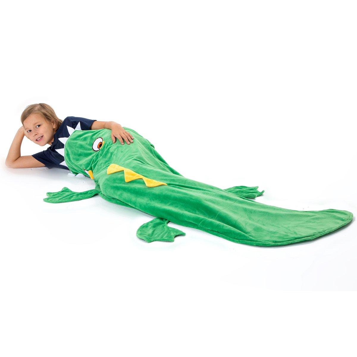 Echolife Green Crocodile Tail Blanket Soft Fleece Children Sleeping Bag Christmas Gifts for Kids 3-10 Years Old (Crocodile)