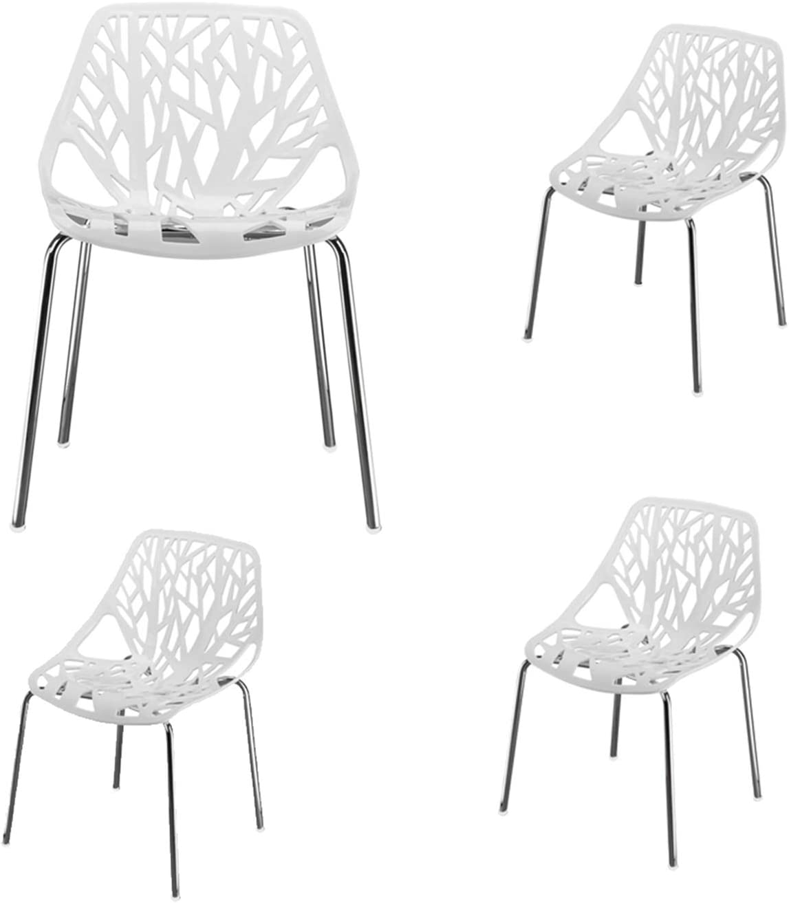 4pcs Bird's Nest Style Lounge Chair White Dining Chair Indoor-Outdoor Industrial Vintage Chairs Bistro Kitchen Cafe Chair