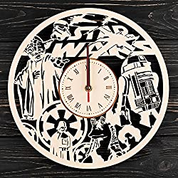 7Arts Planet of Star Wars Wooden Clock – Decorative Wall Clock Made from Eco Wood with Silent Quartz Movement and Autonomous Power Source - Can be Painted, Great Gift Idea