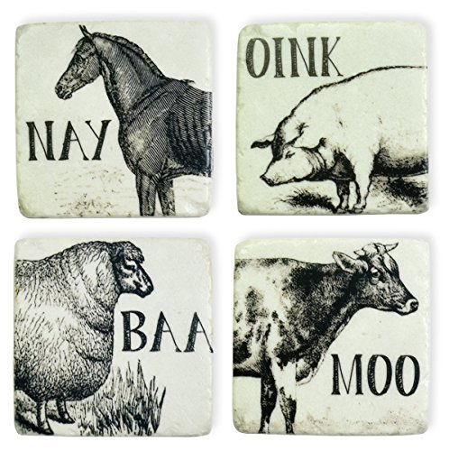 Boston International Resin Coasters, Square-Shaped, Set of 4, Farm (Cow Coaster)