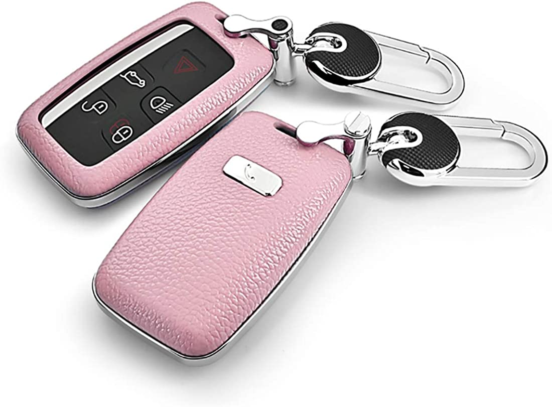 Ontto for Land Rover Car Key Shell Genuine Leather ABS Plastic Smart Car Key Fob Holder Protector Cover with Zinc Alloy Keychain Key Ring Fit for Range Rover Eoque Freelander 2 Discovery Jaguar Pink