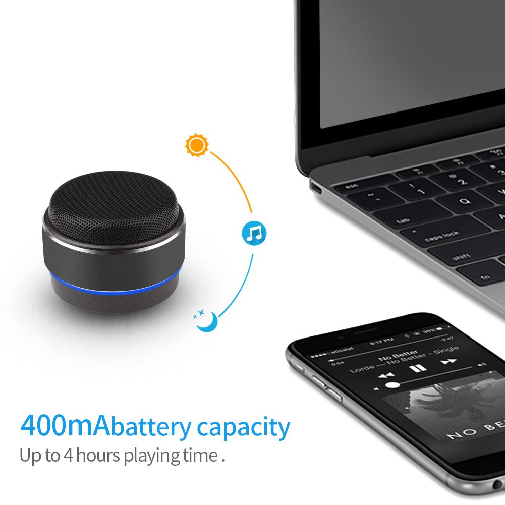 Portable Wireless Bluetooth Speaker,Xergur Mini Wireless Stereo Speakers with Hands Free Phone Calling Mic,Micro SD TF Slot for iPhone,iPad,Samsung (Black)