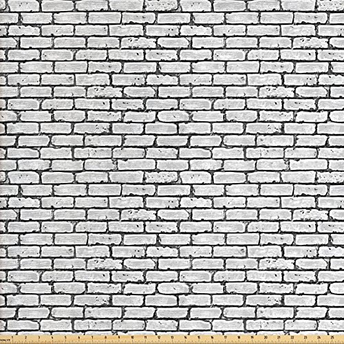 Ambesonne Grey and White Fabric by the Yard, Grunge Brick Wall Background Urban Architecture Building Modern City Life Graphic, Decorative Fabric for Upholstery and Home Accents, Grey (Fabrics City Furniture Brick)