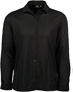 product image for Akwa Made in USA Men's Knit Textured Dry Wicking Poly Dress Shirt with Check Pattern