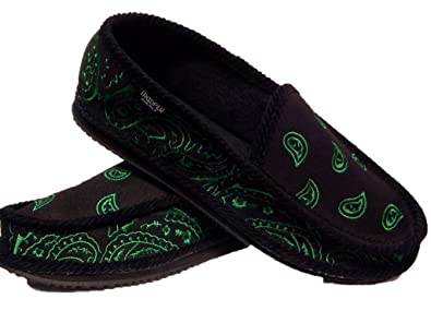 51b3a9aed3f0 Black and Green Bandana House Shoes Slippers Trooper New Size 8 9 10 11 12  13