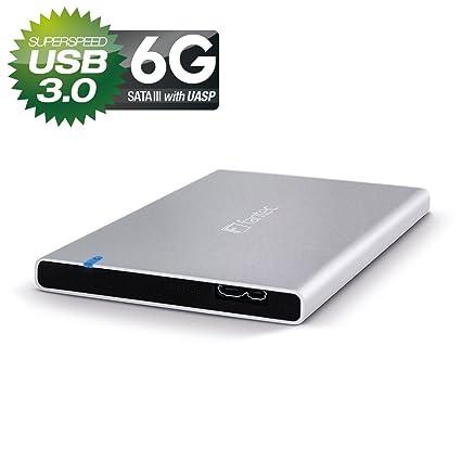 Fantec ALU-7MMU3 Carcasa externa para discos duros HDD de 2,5 y SSD, SATA I/II/III, para discos ultra finos de hasta 7mm, USB 3.0 supervelocidad, de ...